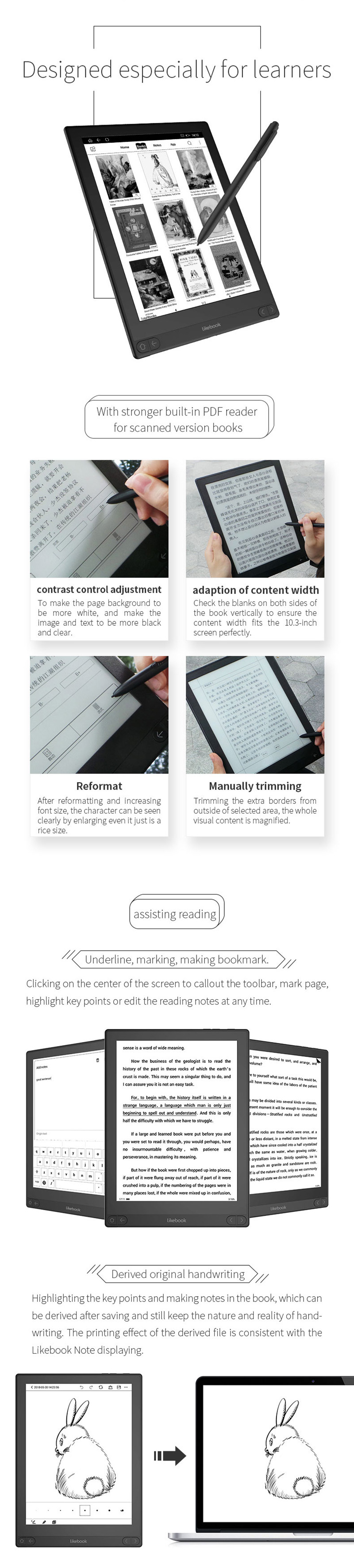 boyue likebook note 10 3 inch Ebook reader with wifi/BT