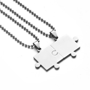 2pcs Stainless steel necklace Mens womens couples puzzle pendant love necklace set Best friend jigsaw necklaces jewelry gifts(China)