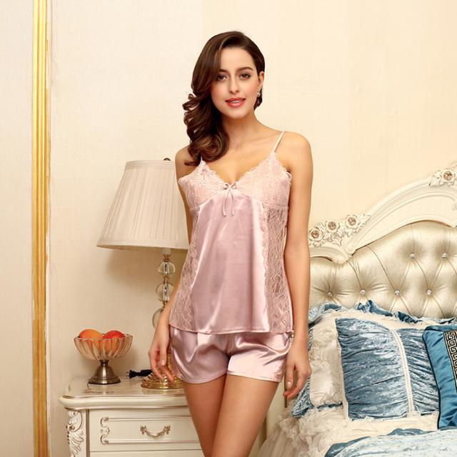 SSH033 Mujeres Sexy V-cuello Rayón de Seda Pijama de Las Señoras Correa Del Cordón Sin Mangas y Pantalones Cortos ropa de Dormir 2 piezas Pijamas Pijama