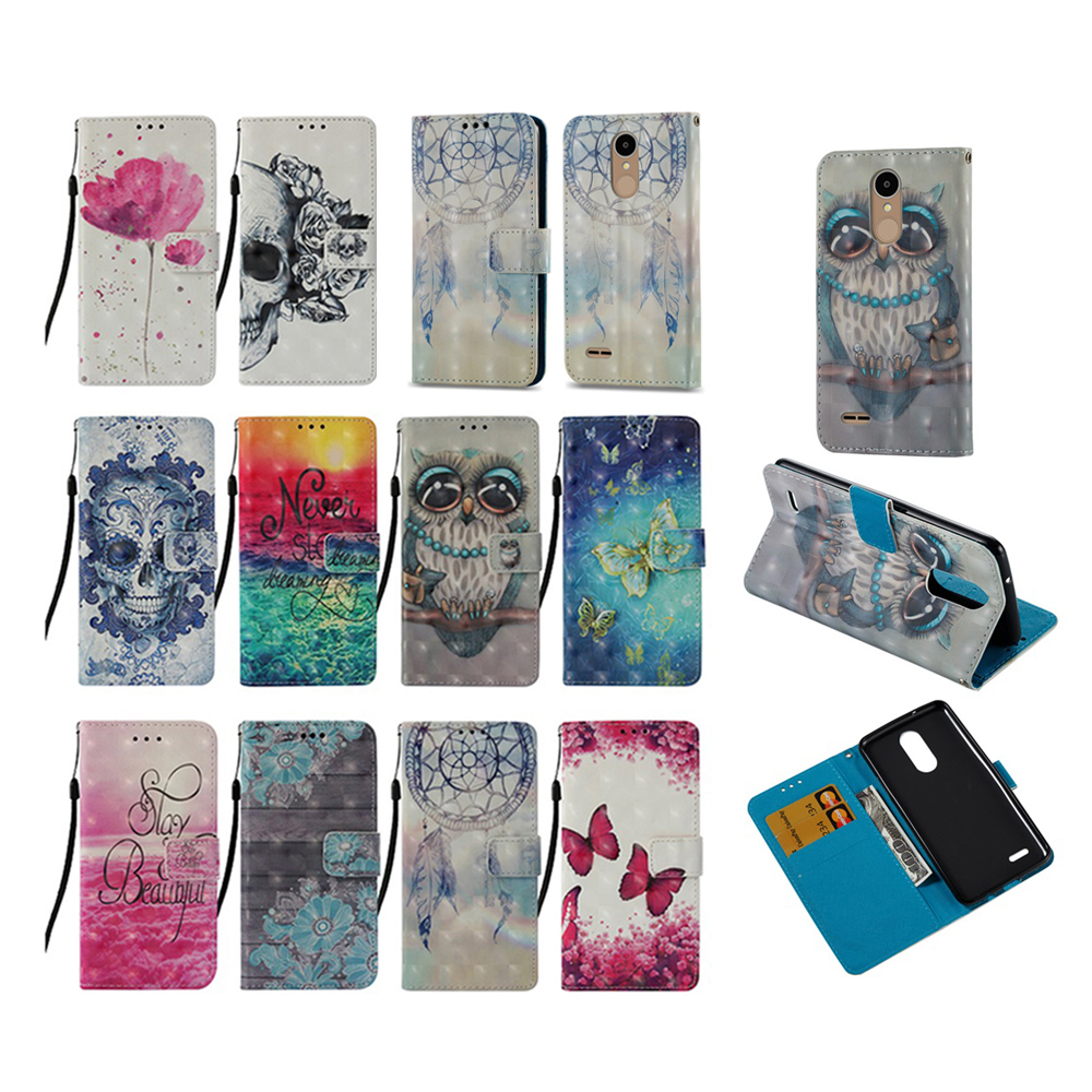 Cartoon Case For LG K10 2017 PU Leather Wallet Flip Case For LG K20 Plus M250 LV5 Stand TPU Cover Coque Shell Capa