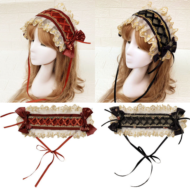 Cute Lolita Hairbands For Women Girls Wedding Hoop Headpieces Ruffle Headwraps Princess Bride Cosplay Hair Accessory Ladies
