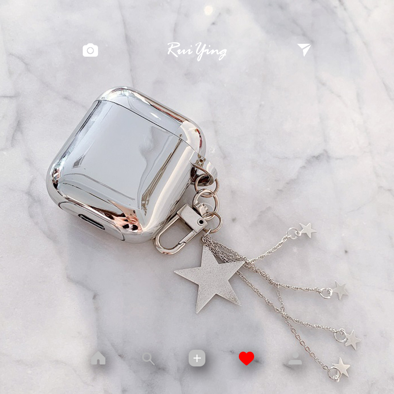Luxury metal plating glitter five-pointed star pendant silicone Bluetooth Wireless Earphone Case For Apple AirPods 1 2 Headset