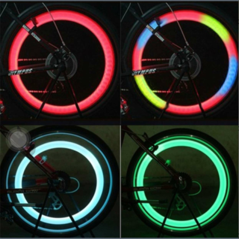 Super LED Bike Lights Spoke Wire Tire Tyre Wheel Bicycle LED Multicolor Bright Lamp shockproof Cycling Accessories #4S09  (1)