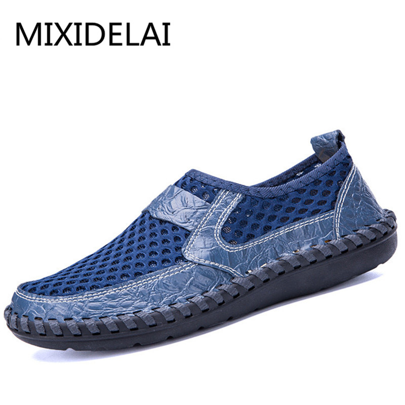 Men Shoes 2018 Summer Breathable Mesh Shoes Mens Casual Shoes Genuine Leather Fashion Summer Shoes Man Soft Comfortable Size 48 цена