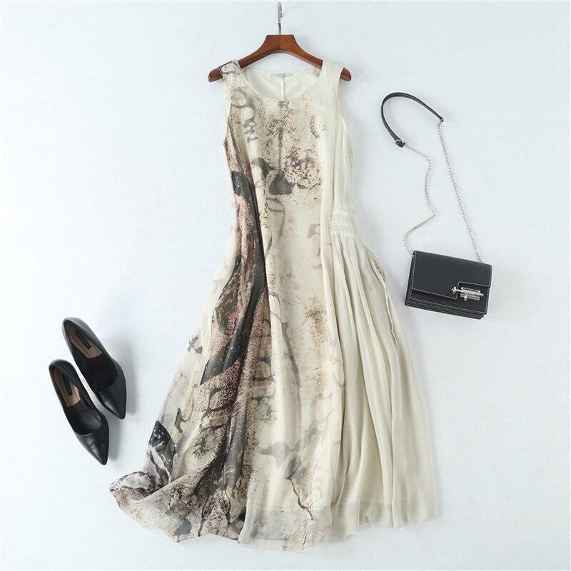 Платье женское 100% шелковая ткань А силуэт Заниженная Талия Дизайн Круглый вырез без рукавов пояса 2 цвета Элегантное Длинное платье Мода 2019