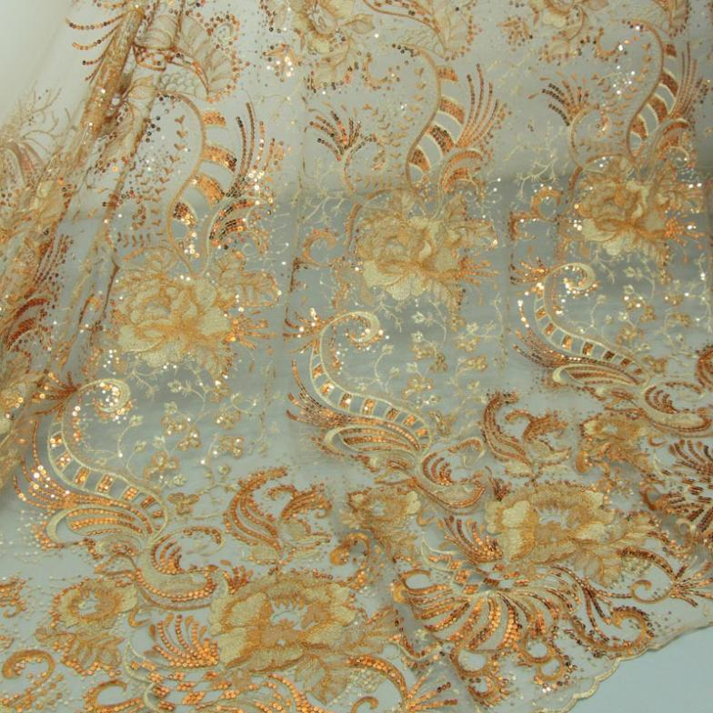 Sequin embroidery fabric lace wholesale apparel