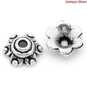 "DoreenBeads Bead Caps 6 Petals Flower Silver color (Fits 14mm Beads) 6mm x 7mm( 2/8""x 2/8""),300PCs (B28375)(China)"