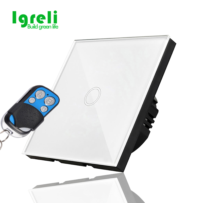 free shipping igreli eu standard remote switch white crystal glass panel  170~240V wall light touch screen switches|remote touch switch|touch remote switch|touch wall light switch - title=