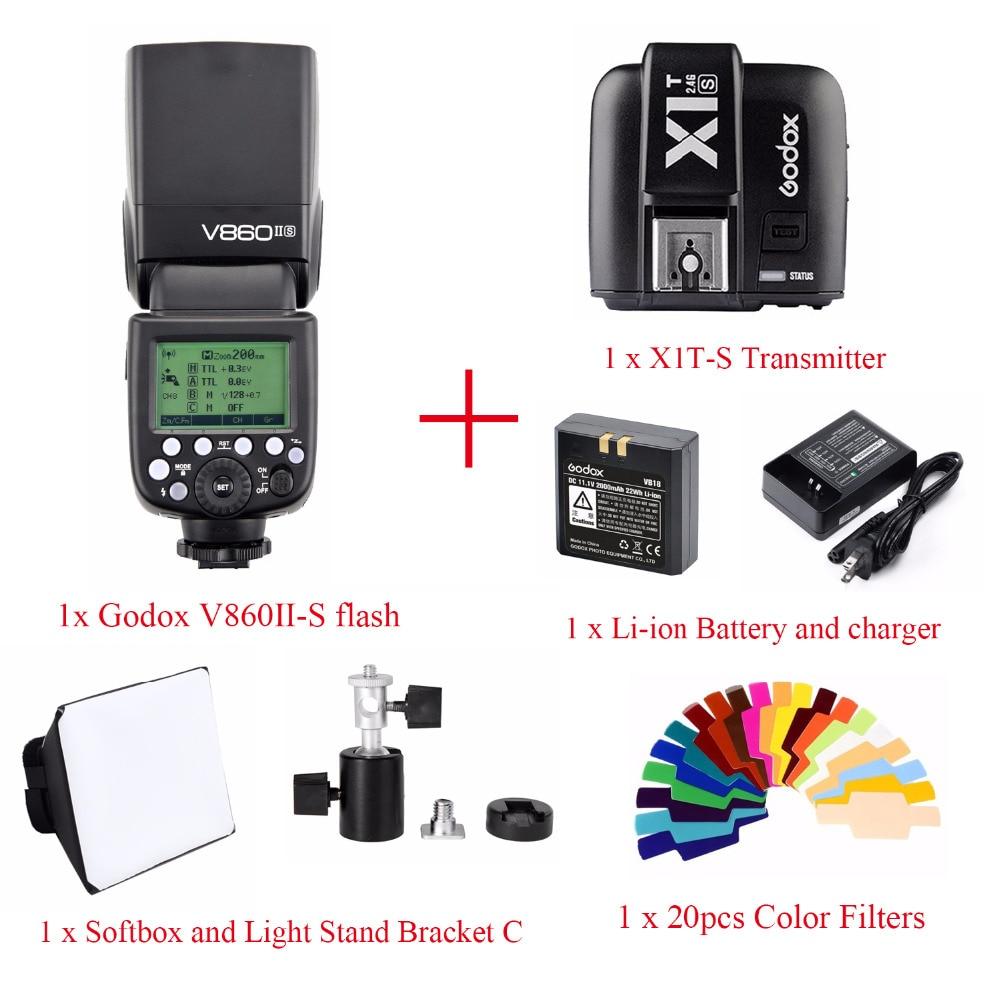 Godox V860II TTL HSS Li-ion Battery Speedlite Flash For Sony,V860II-S Flash + X1T-S Trigger + Color Filter + Softbox + bracket C godox v860iis flash speedlite 2 v860ii s ttl hss 2 4g li ion battery x1t s trigger for sony dslr cameras supon free gift kit