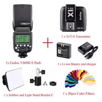 Godox V860II TTL HSS Li-ion Battery Speedlite Flash For Sony,V860II-S Flash + X1T-S Trigger + Color Filter + Softbox + bracket C