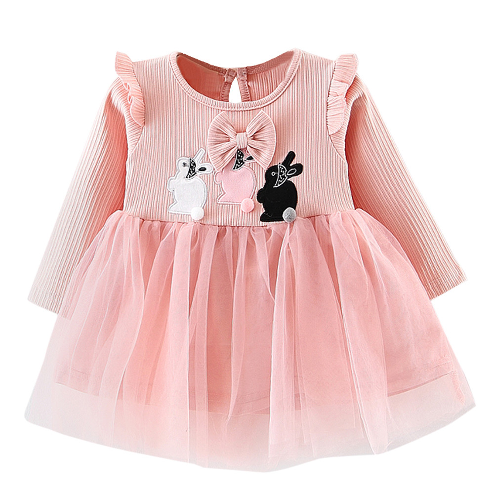Toddler Kids Baby Girls Dresses Rabbit Clothes Long Sleeve Party Princess Dresses ropa de ninas con envio gratis