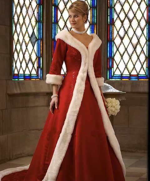 Top-Selling-Red-White-Faux-Fur-Edge-Satin-Winter-Wedding-Coat-With-3-4-Sleeves-Long