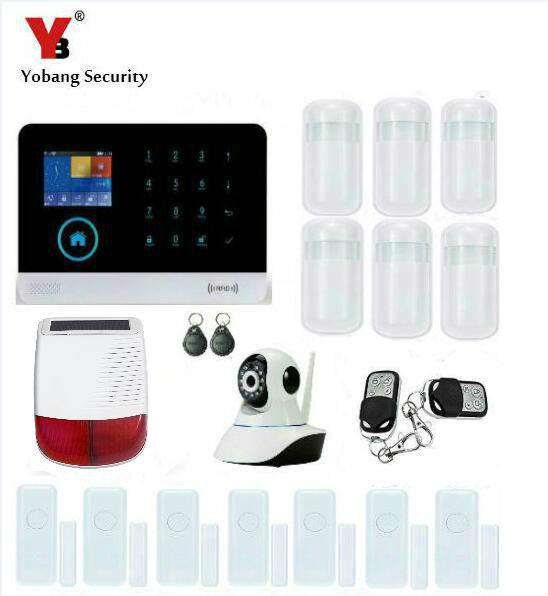 YobangSecurity WiFi GSM GPRS RFID Wireless Home Business Office Burglar Security Alarm System Solar Power Siren Video IP Camera yobangsecurity wireless wifi gsm gprs rfid home security alarm system with ip camera solar power outdoor siren smoke detector