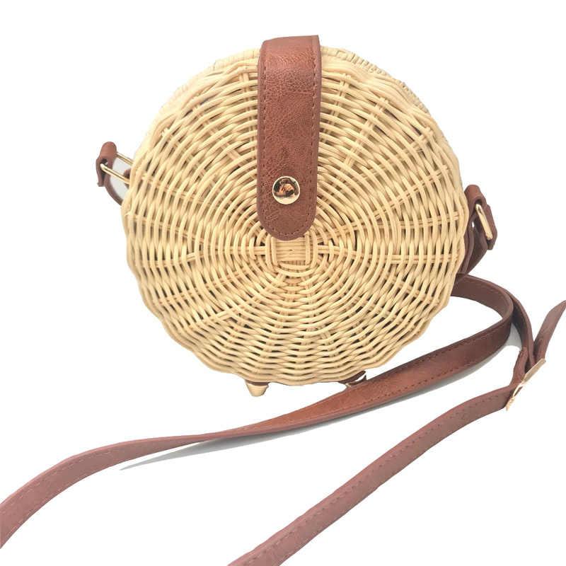 Praça redonda estilo mulit palha saco bolsas femininas verão rattan saco artesanal tecido praia círculo boemia bolsa nova moda