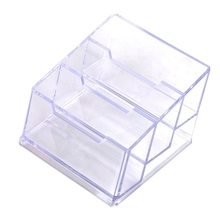 Business Card Box 3 Compartments Holder Dispenser Material NEW