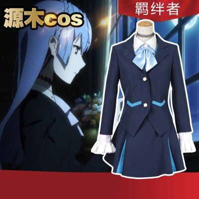 High Quallity Japanese Anime Kiznaiver Sonozaki Noriko Man Woman Cosplay Costume Top + Shirt + Skirt + Bow Tie + Choker
