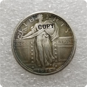 США 1916-P стоящая Статуя Свободы четвертак копия монет памятные монеты-копии монет медаль коллекционные монеты