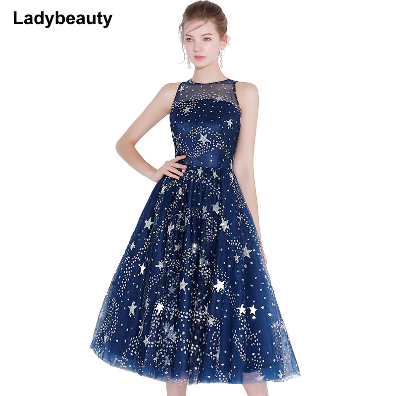 New arrival 2018 Short   Cocktail     Dress   Blue Star Shines Sleeveless High-necked Party Gown Formal   Dresses   Robe De Soiree