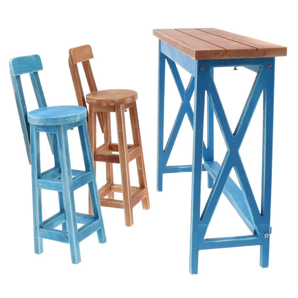 Miniature Wooden Bar Table Chair Furniture for 1 4 BJD Tonner Doll Blue Pretend Play Furniture