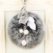 8cm Rabbit Puff Ball Fur Keychain Pom Bag Charm Keyring Accessory Fluffy Car Girl Gift Silver Clasp