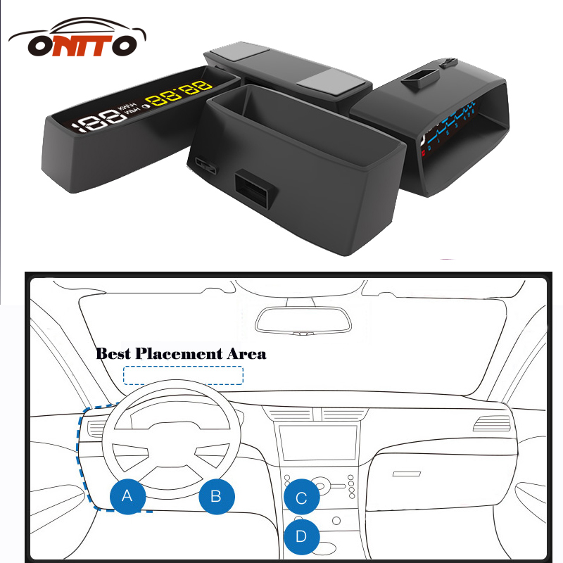 4F Car OBD2 II Manual Switch HUD Overspeed Warning Windshield Projector Alarm System Head Up Display Interior Lighting rastp m9 hud 5 5 inch head up windscreen projector obd2 euobd car driving data display speed rpm fuel consumption rs hud011