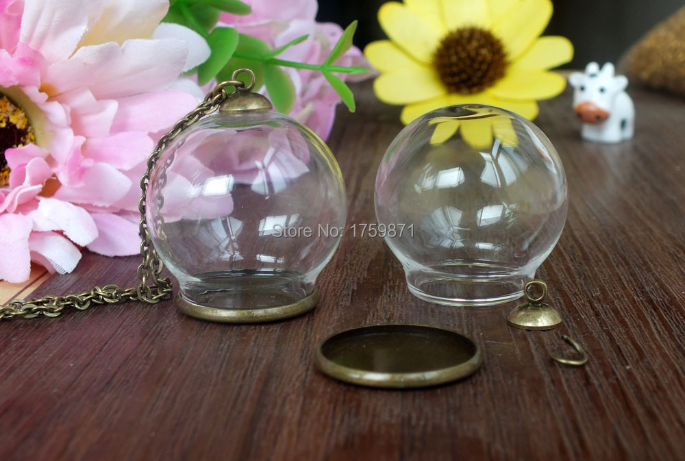Free Ship Clear Glass Bottle Pendant Diy Antique Bronze Smooth Base