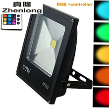 LED Floodlights 10W 20W 30W 50W Lighting IP65 Outdoor 220V Spotlights RGB with Remote Controller Spot Flood Garden Lamp 90w changeable color led floodlights ac85 265v outdoor spotlights ip65 waterproof ir 24 key controller garden buildings lighting