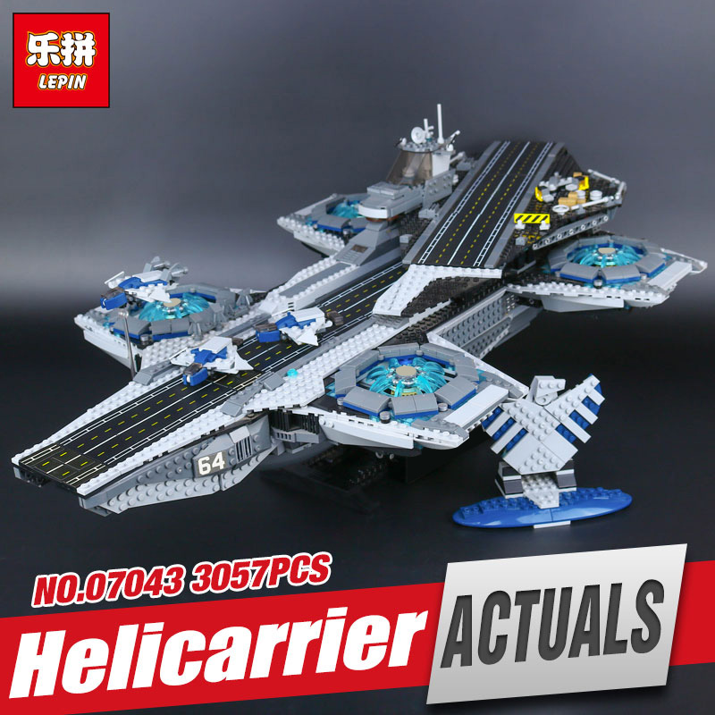 Lepin 07043 3057pcs Super Heroes The Shield Helicarrier Model Educational Building Kits Blocks Bricks Toys Compatible 76042 2017 new sembo sy911 4288pcs super heroes the shield hellicarrier children educational model building kits brick toys gift 76042