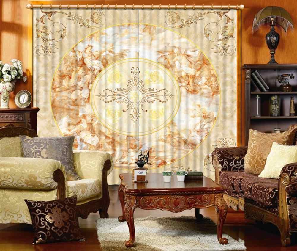 European style customize sound proof curtain Marble pattern living room Bedroom girls room high quality curtain