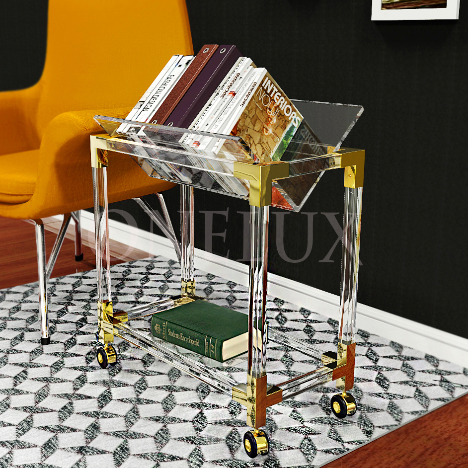 Rolling Crystal Acrylic Lucite Book/Magazine Shelf Table,Plexiglass Side Tables On Wheels KD PACKED-ONELUX Original New Design hot sale c shaped waterfall acrylic occasional side table