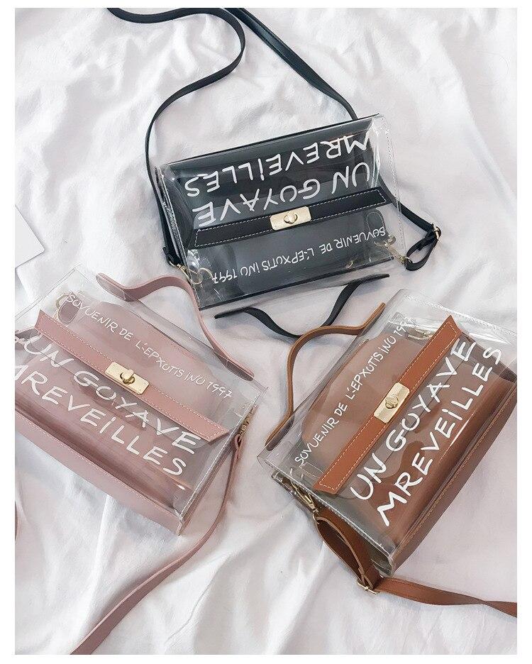 Pochette en cuir synthétique polyuréthane de mode d'été avec sac Composite Transparent en PVC Transparent