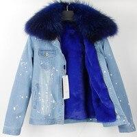 Бренд 2019 осень зима куртка пальто женская джинсовая куртка настоящий большой енот меховой воротник и искусственный мех толстый теплый съем