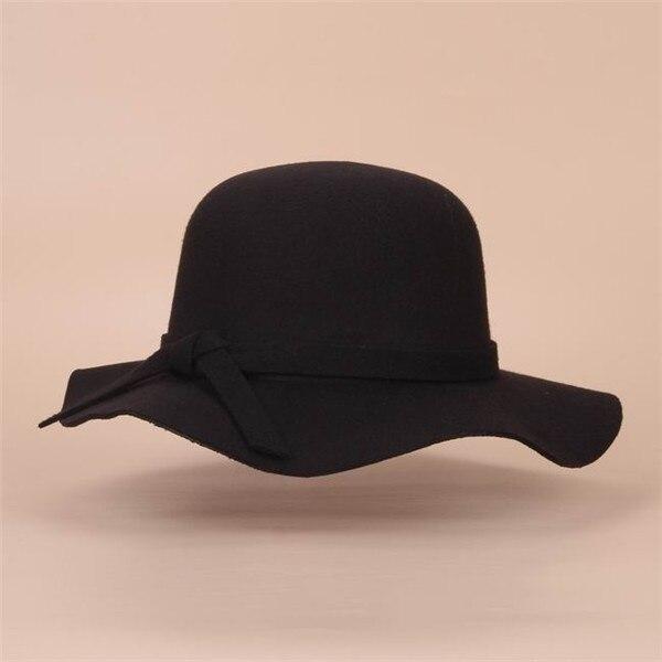 Стиль, мягкая детская шляпа от солнца в винтажном стиле с широкими полями, шерстяная фетровая шляпа-котелок Fedora, широкополая шляпа для девочек, большая шляпа для детей 3-7 лет - Цвет: Black
