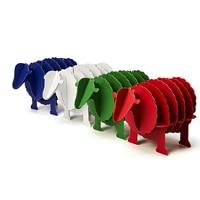 4pcs 3D Sheep Card Holder Model Jigsaw Puzzle Office Ware Supplies DIY Handmade Cardboard Creative Desktop