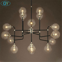 AC100-240V Nordic creative restaurant bedroom hanging pendant lights vintage industrial arts glass lustres ball beans lamps deco magic beans dna lustres wrought iron industrial cafe project 5 lamps nordic art deco glass ball led pendant hanging lights