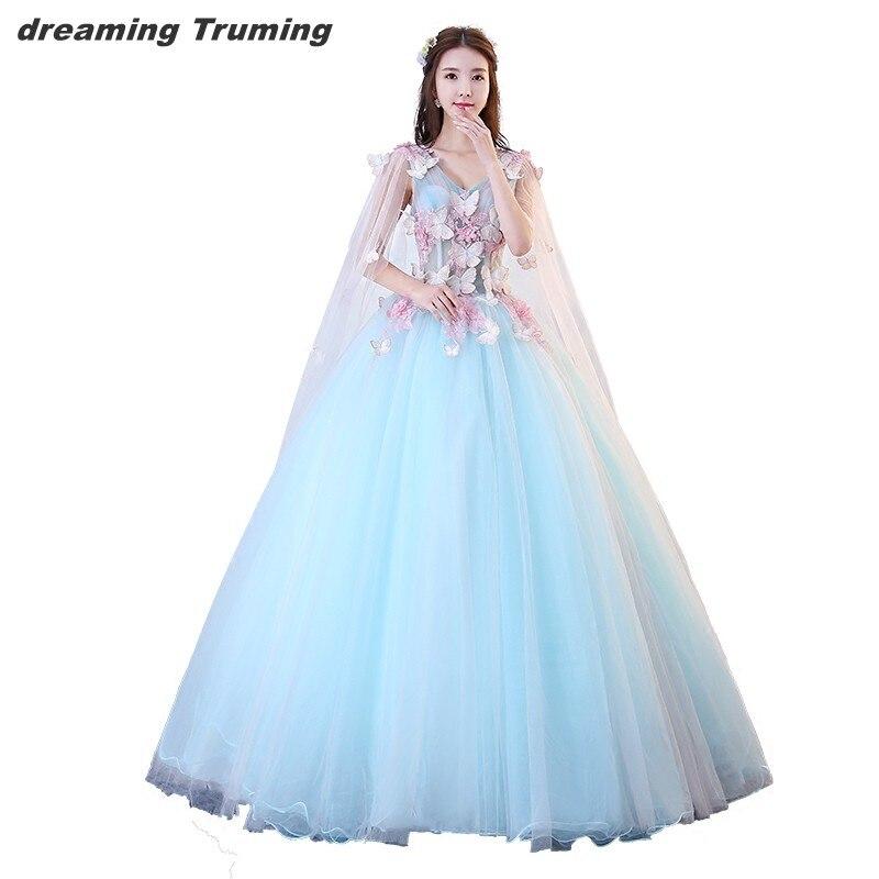 Светло Голубое Бальное Платье с длинными рукавами пышные платья с накидкой 3D цветочные платья принцессы для девочек вечерние платья с v обр