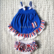 Toddle blue Swing Set Hot Selling Summer Lovely Style Baby Girls Clothes top&Bloomer Clothing Set KP-SW007