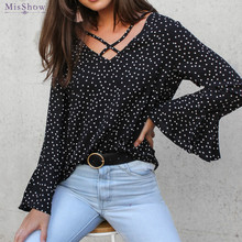 купить Polka Dot Chiffon Blouse Women Transparent Flare Sleeve V Neck Silk Blouse Shirt Feminine Blouse Ladies Blouse Large Size дешево