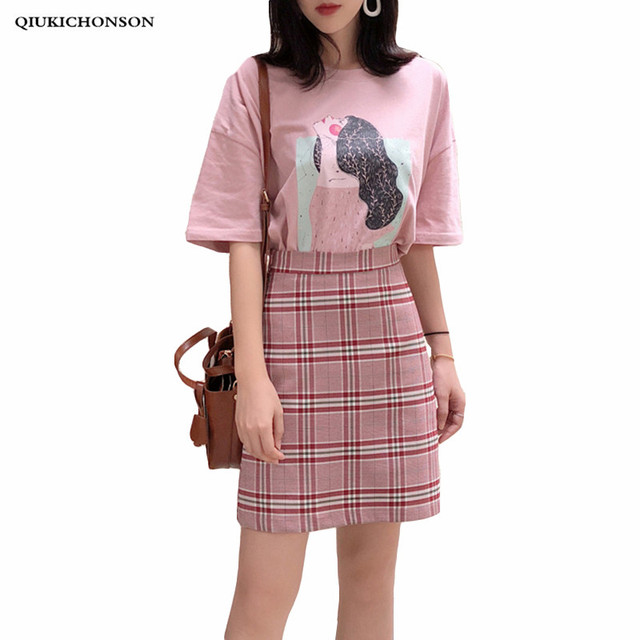 a0a3efa9d786 Qiukichonson pink t shirt top and plaid skirt set ladies 2018 Korean fashion  summer women two piece set outfits