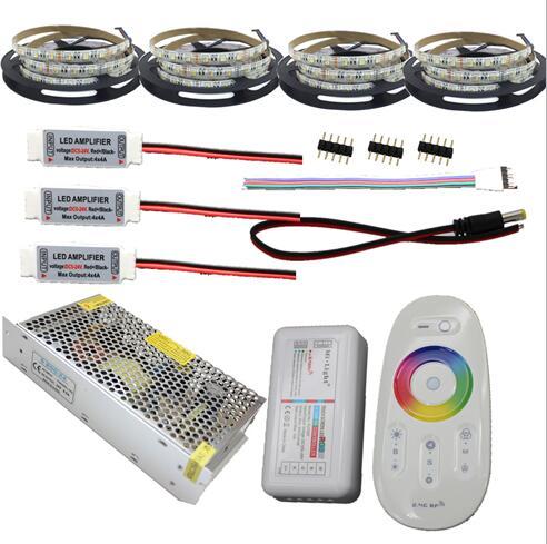 20m 15m 5m 10m 4 in 1 LED Strip 5050 RGBW Waterproof IP65 IP20 tape 2.4G RF controller Power adapter Amplifier Kit Free shipping