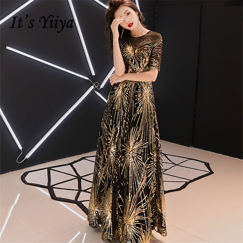 It's YiiYa Evening Dress 2018 Gold Sequined Beading O-Neck Black Floor-length Dinner Gowns LX1266 Robe De Soiree