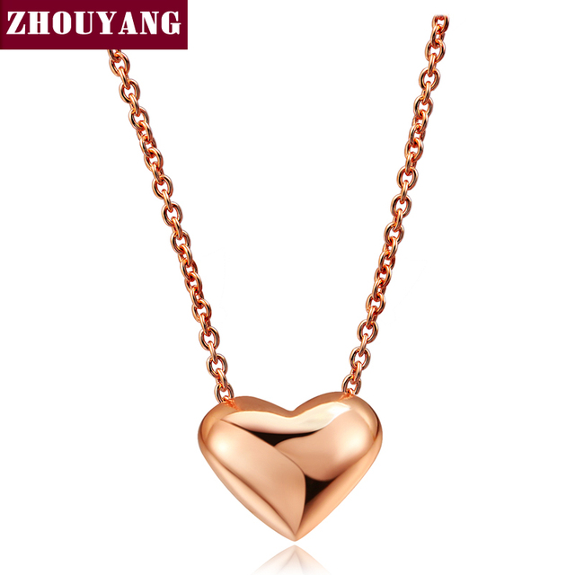 Heart Simple OL Style Rose Gold Color Pendant Necklace Wholesale Women Party Wed