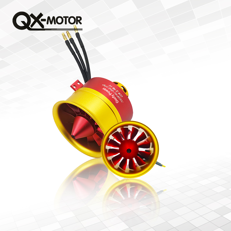 купить Hot Sale Metal QX-MOTOR/GP 70mm Ducted Fan EDF with 100A ESC Set Jet 12 Blade 4s-6s Lipo Motor Electric for RC airplane Model по цене 3504.6 рублей