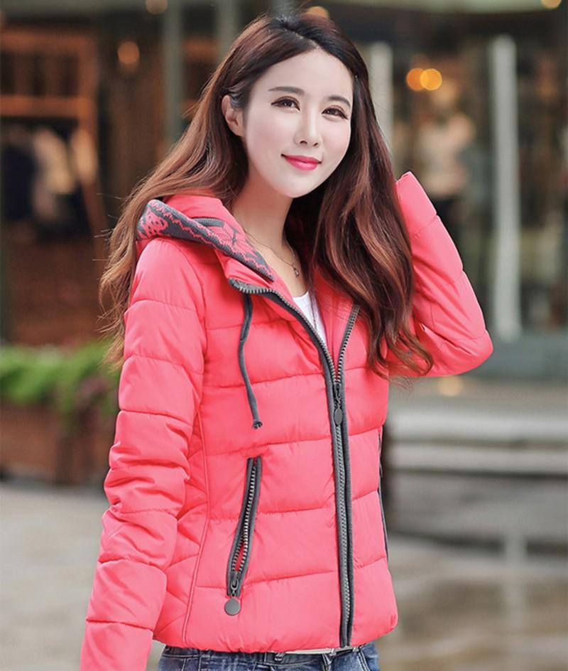 Women Winter Coat Long Sleeve Print Floral Hooded Slim Winter Parka Plus Size Cotton-Padded Jackets 2XL (6)