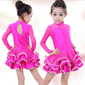 Alta qualidade de outono e inverno das crianças meninas roupas saias de dança latina ballroom stage trajes longo-sleeved dress perfoming