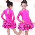 Etapa de salón de alta calidad de otoño e invierno de los niños ropa niñas trajes de faldas de baile latino de manga larga dress perfoming