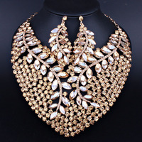 African Beads Exaggerating Necklace Earrings set With Crystal Rhinestones for Bridal Wedding Party Jewelry sets