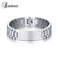 Bamos Fashion Male Stainless Steel Bracelet Silver Color Friendship Bracelets Bangles For Man High Quality Jewelry