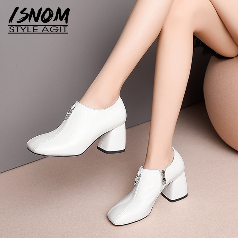 ISNOM Crystal High Heels Women Pumps Zip Square Toe Footwear Genuine Leather Ladies Shoes Fashion Shoes Woman Spring 2019 WhiteISNOM Crystal High Heels Women Pumps Zip Square Toe Footwear Genuine Leather Ladies Shoes Fashion Shoes Woman Spring 2019 White