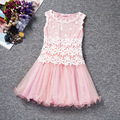 Korean flower summer lace baby Girls sleeveless tutu Princess Dress Girls Dress mesh sling children clothes for 2 3 4 5 6 7 year